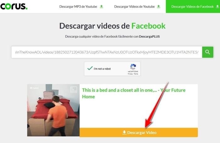 Captcha y Buscar para descargar video de Facebook para descargar