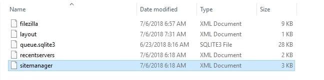 Contenido de archivos de configuracion de FileZilla
