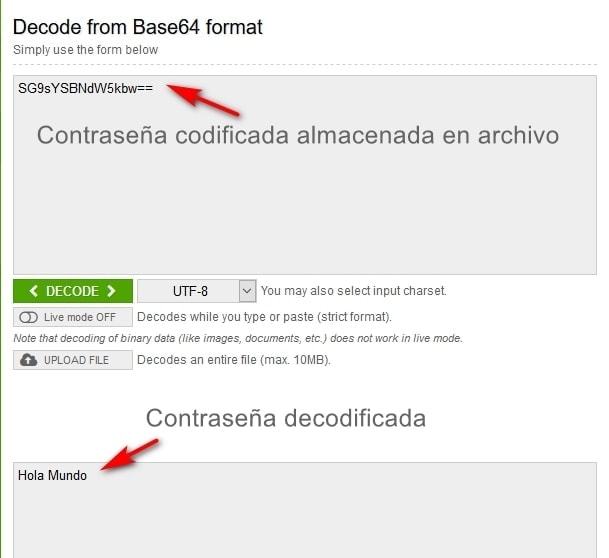Decodificar contrasena base64 de FileZilla
