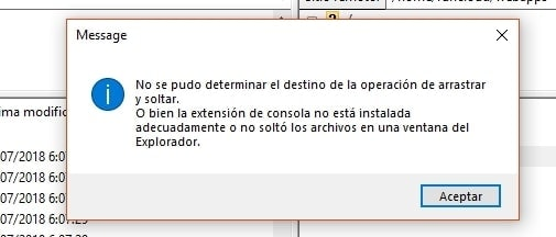Mensaje de error en FileZilla al arrastrar y copiar