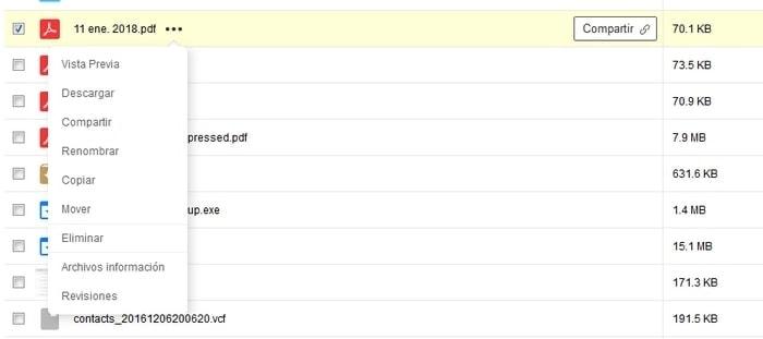 opciones de archivo en pCloud