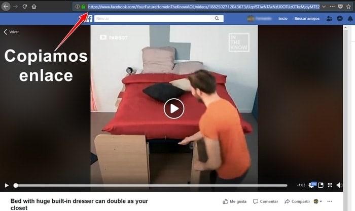 Seleccionar enlace de video de facebook para descargar gratis