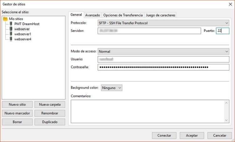 Ventana de configuracion de sitios FileZilla