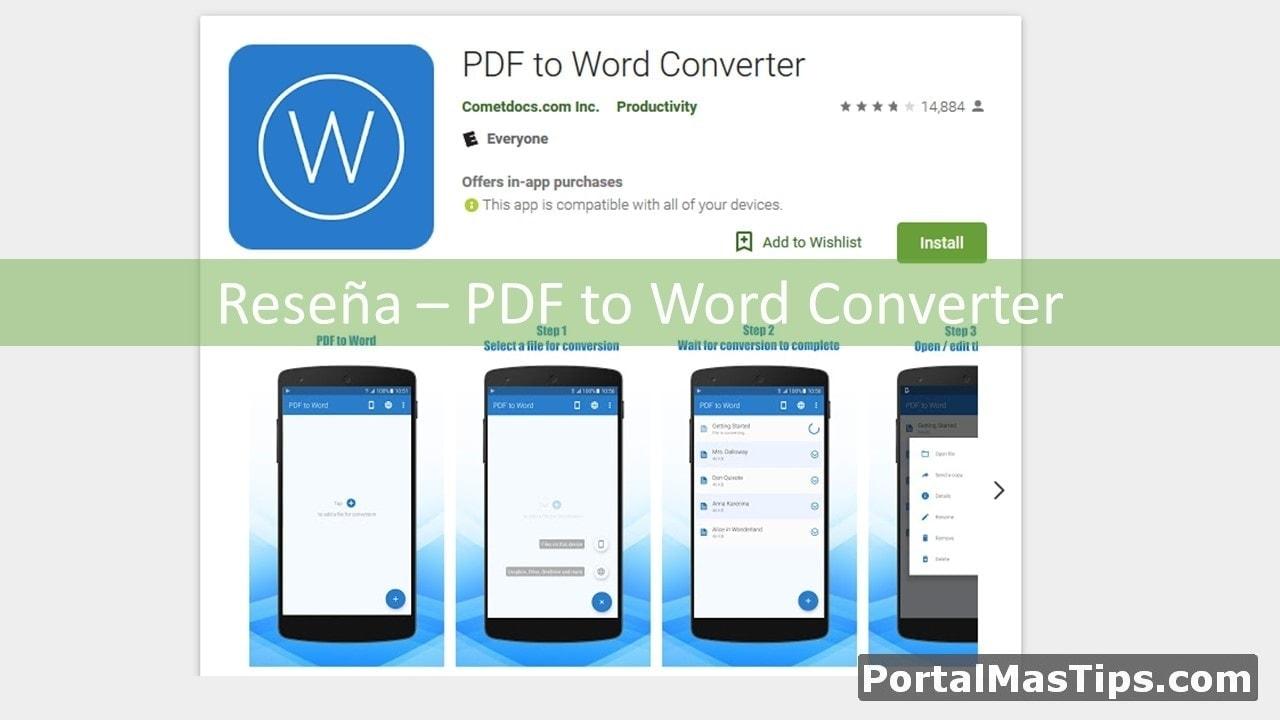 Reseña PDF to Word Converter - Convierte tus PDF a Word facilmente 1