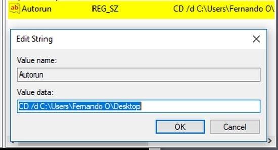 Editar llave de registro con ruta de carpeta predeterminada CMD