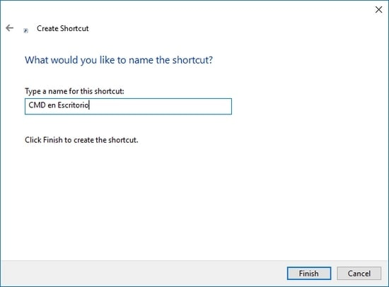 Nombrar el acceso directo personalizado con la ruta