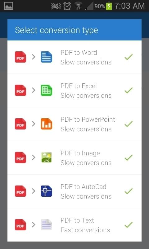 PDF to Word Converter - Seleccionar tipo conversion