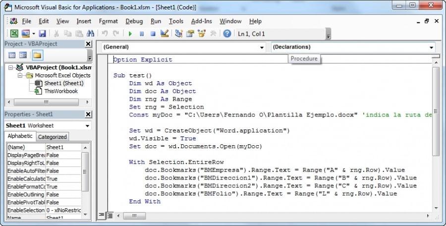 Abrimos codigo de proyecto en VBA