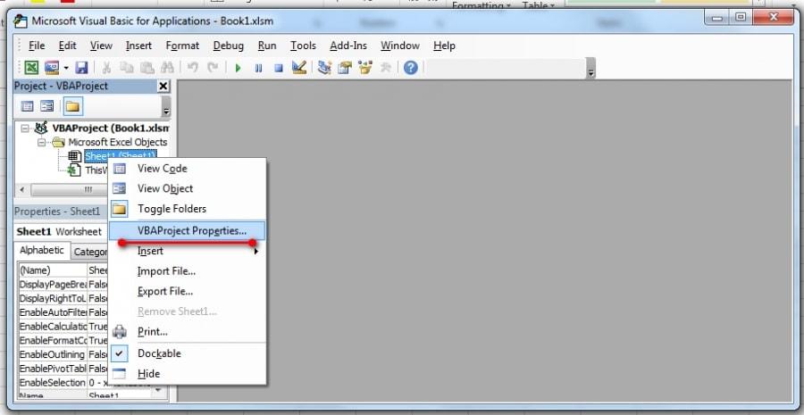 Editor VBA editar propiedades de Proyecto