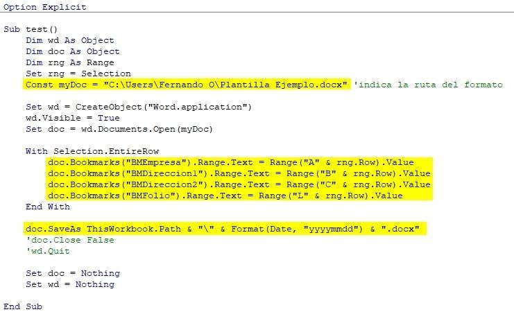 Lineas del codigo VBScript que se tienen que editar
