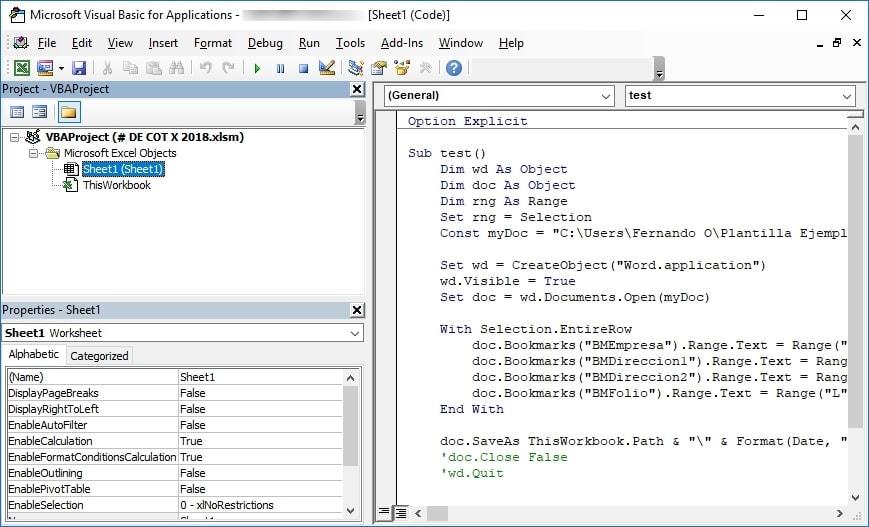 Pegar codigo VBScript en editor de codigo de Excel