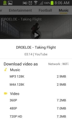 Snaptube - Formato de descarga