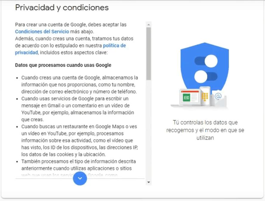 Crear una cuenta Gmail - Privacidad