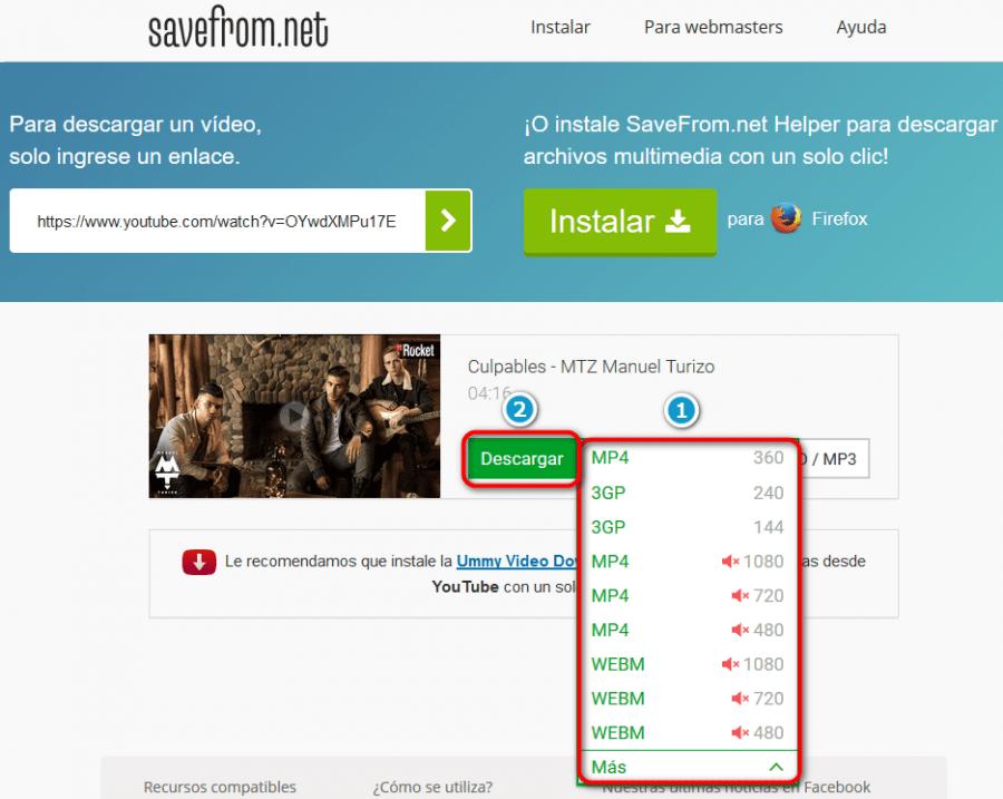 descargar vídeos de YouTube con savefrom.net seleccionar calidad de video