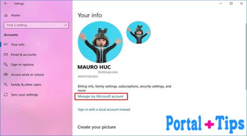 Cómo cambiar el nombre de usuario en windows 10 usando la Configuración Pasos 1 al 4