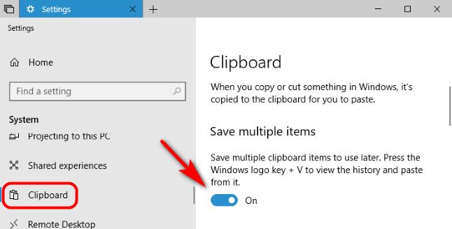 Habilitar portapapeles desde Configuración de Windows 10