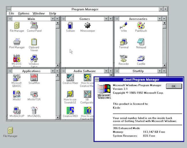 Muestra de vista de Windows 3.1
