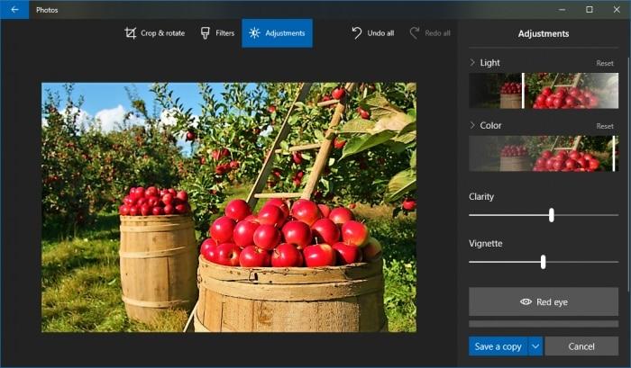 Ejemplo final de retoque de imagen en Fotos de Windows 10