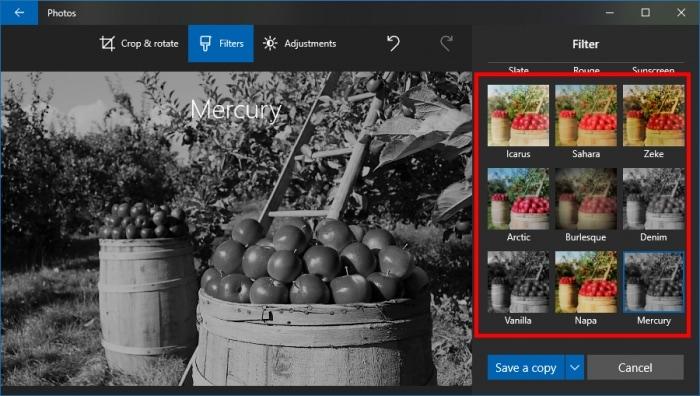 Filtro a imagenes en Windows 10 Gratis