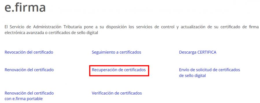 recuperación de certificados