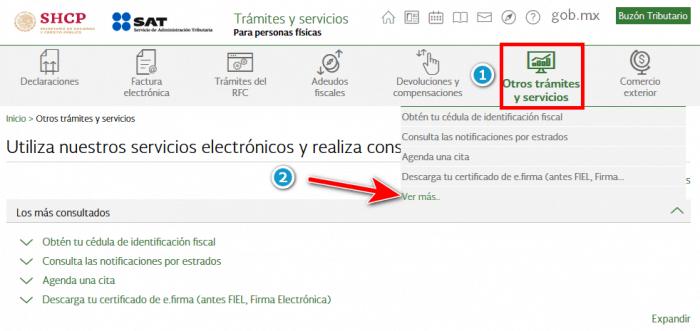 SAT - Otros tramites y servicios >> Ver mas...