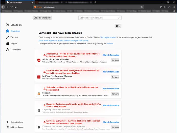 Legacy Extensions Firefox deshabilito extensiones