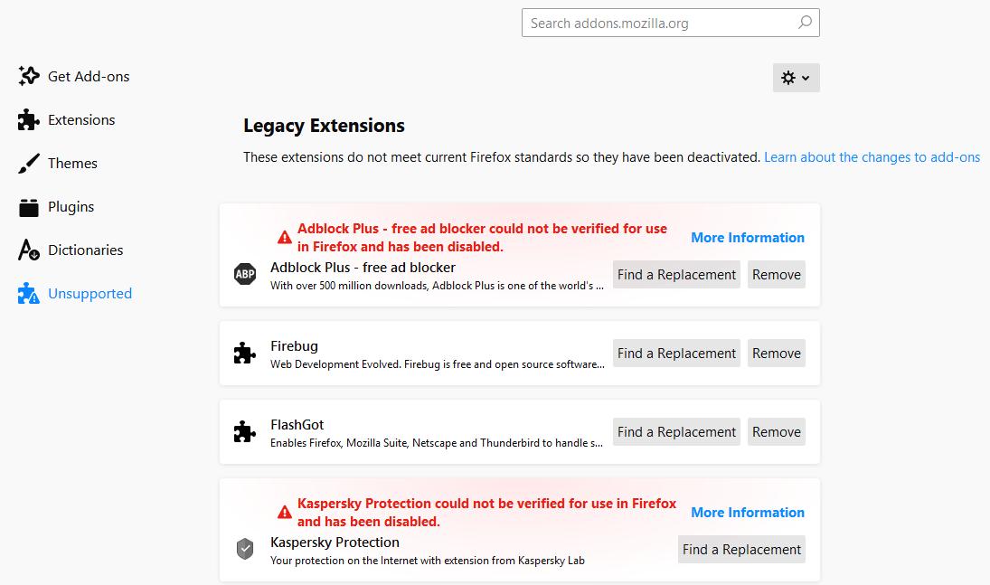 Logo - Firefox deshabilito extensiones