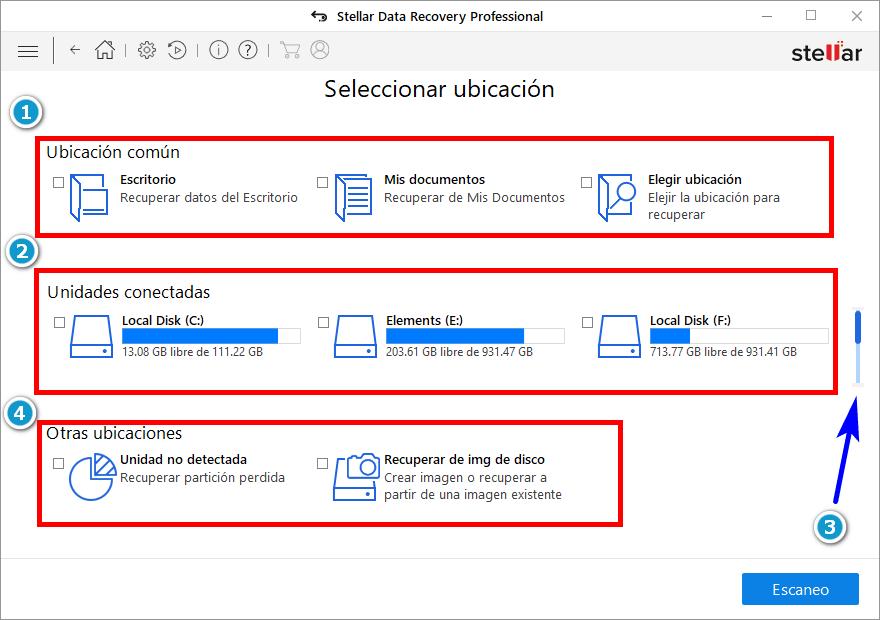 Seleccionar unidad de almancenamiento a recuperar archivos
