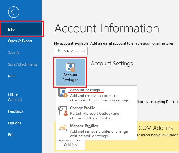 Outlook configuracion de cuenta