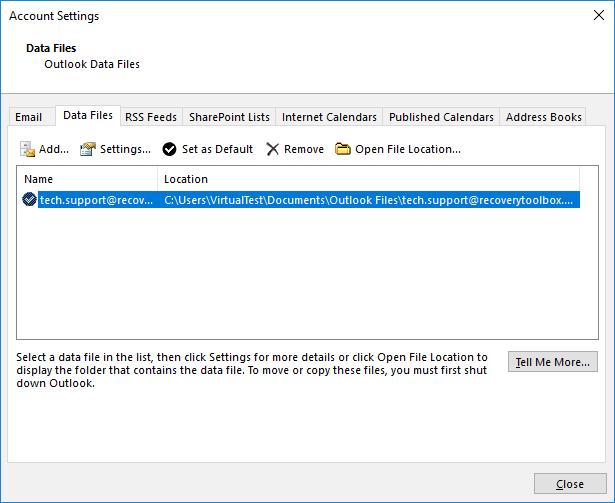 Ver archivos de datos PST