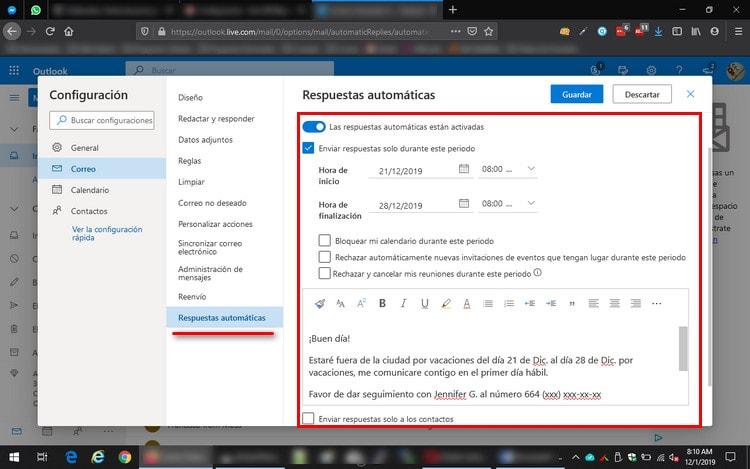 Respuesta automatica Outlook Web